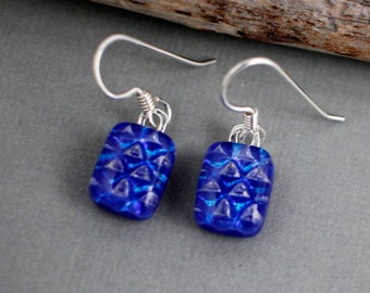 Royal Blue Earrings - Dichroic Glass Earrings - Dichroic Earrings - Unique Earrings - Blue Dangle Earrings - Fused Glass Jewelry