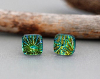 Green and Blue Dichroic Glass Stud Earrings - Square Earrings - 925 Sterling Silver Studs - Unique Earrings - Gift For Women