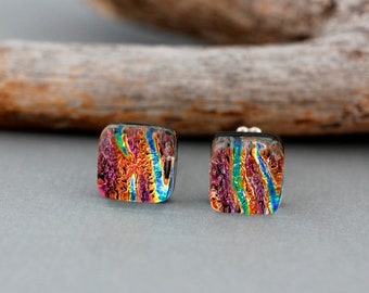 Pink Fused Glass Earrings - Dichroic Glass Jewelry - Unique Christmas Gift For Women - Unique Earrings