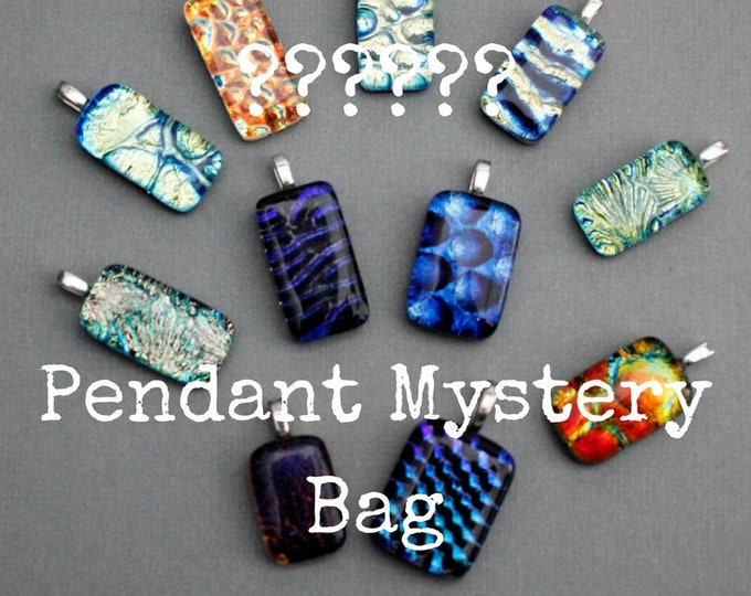 Featured listing image: Dichroic Glass Pendant Mystery Bag - Dichroic Glass Jewelry Grab Bag - Unique Gift For Women - Fused Glass Pendant