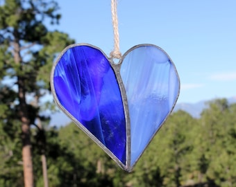 Stained Glass Ornament - Valentines Day Decor - Blue Stain Glass Heart - Stained Glass Suncatcher - Rustic Heart Ornament