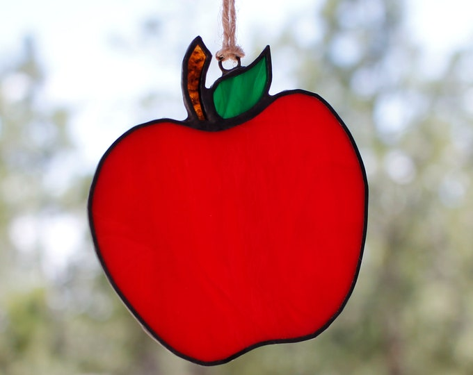 Featured listing image: Red Apple Christmas Tree Ornament - Stained Glass Suncatcher - Teacher Gift