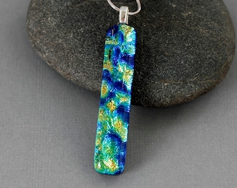 Long Necklace For Women - Dichroic Glass Necklace - Fused Glass Jewelry - Unique Gift For Women