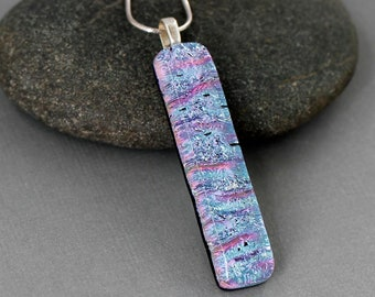 Long Necklace Pendant - Fused Glass Pendant - Unique Gifts For Women - Unique Necklace For Women - Dichroic Jewelry