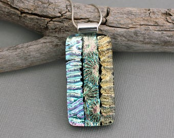 Unique Necklace For Women - Large Dichroic Glass Pendant Necklace - Statement Necklace - Birthday Gift For Her - Fused Glass Jewelry