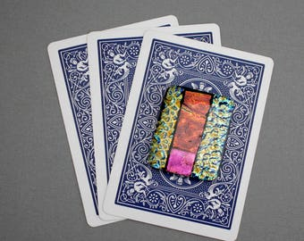 Unique Dichroic Glass Poker Card Guard - Poker Player Gifts - Poker Card Protector - Gifts for Poker Players - Gift for Card Player
