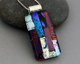 OOAK Statement Necklace For Women - Dichroic Glass Jewelry - Unique Gift For Women - Unique Jewelry For Women - Colorful Necklace Pendant