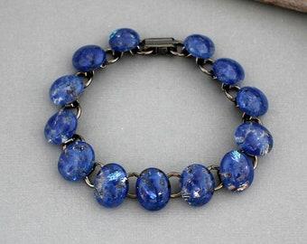 Unique Bracelet For Women - Fused Glass Bracelet - Blue Glass Bracelet - Unique Gift For Women - Handmade Jewelry