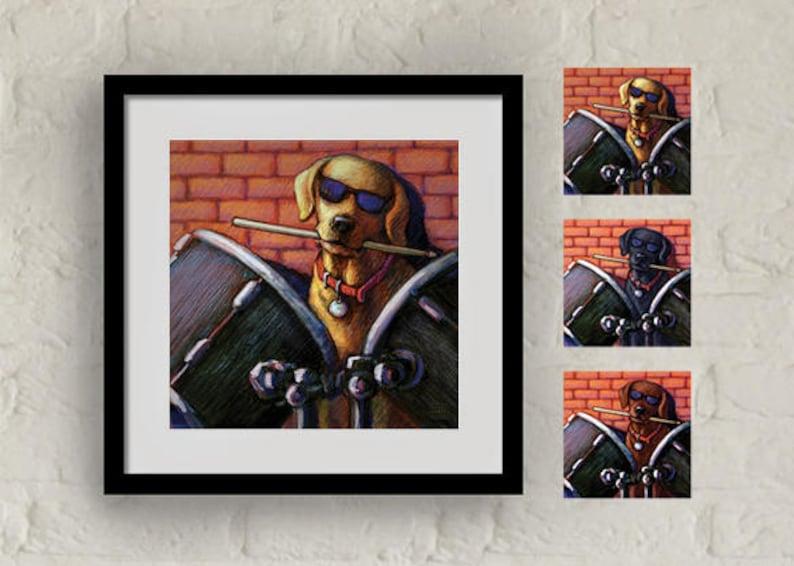 Drummer musician Labrador Retriever wall art of a yellow Lab image 0