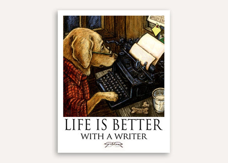Author Life Is Better print with FREE customer phrase wall art image 0