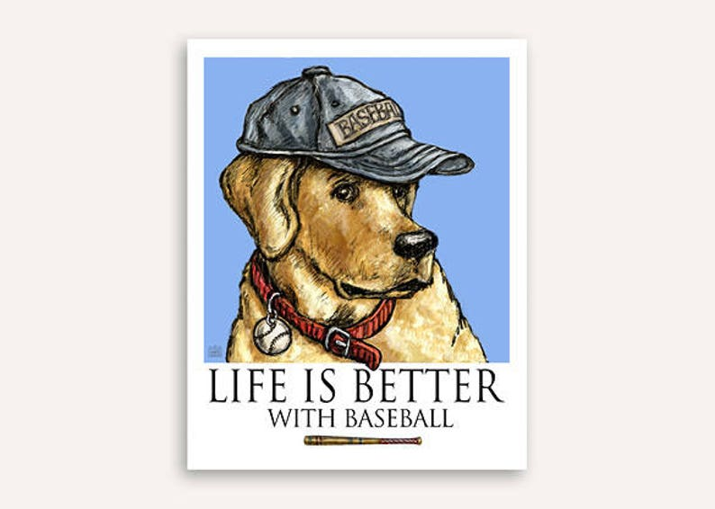 Baseball player Life Is Better print with FREE custom phrase image 0