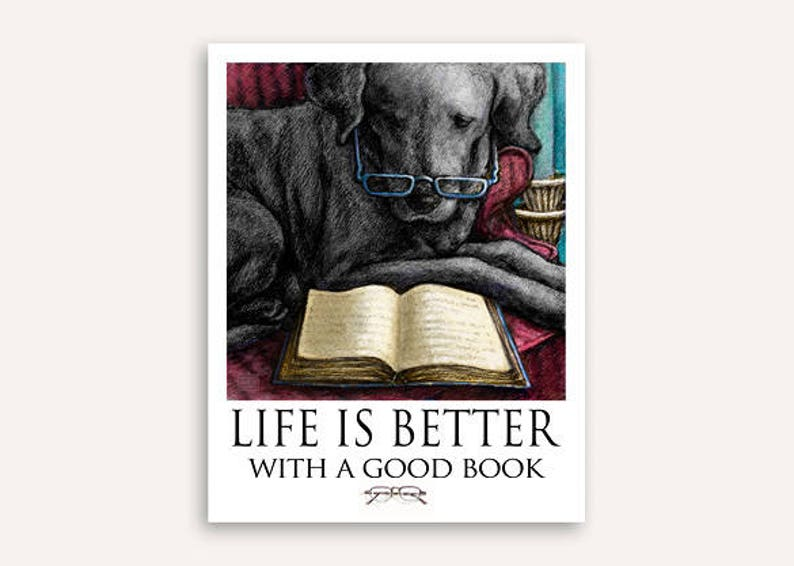 Book worm Life Is Better print with FREE custom phrase wall image 0