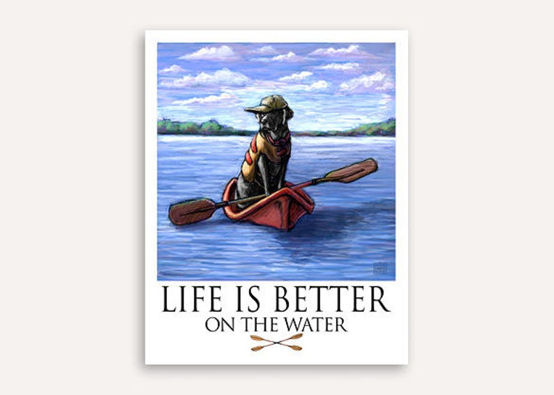 Kayak on the lake Life Is Better print with FREE custom phrase image 0