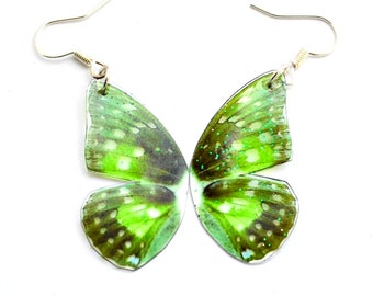 Resin Green Butterfly Wing Earrings