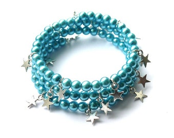 Reach for the Stars Bracelet in Teal Blue