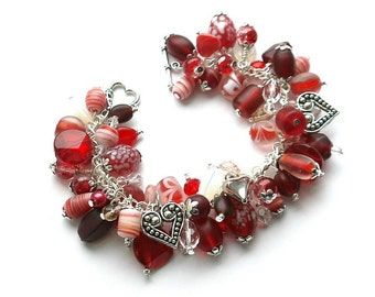 I Heart Red beaded charm Bracelet