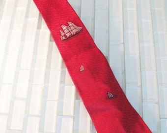 Red Skinny Tie Ship Sailor MAD MEN Dark Red Necktie Oxblood