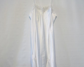 46152823ef2b9d White Satin Nightgown Large-Sheer panels/Beading and Lace Applique