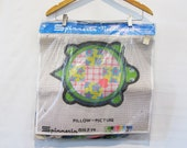 Mod Turtle Pillow Kit - Green Mod Floral Embroidery Pillow - Turtle Crewel Kit - Spinnerin BIG 18 x 18