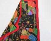 Rainbow Silk Scarf - Multicolor Tassel Silk Scarf - Echo - Big dramatic square scarf