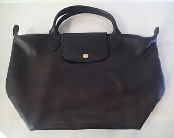 Longchamp Black Leather Handbag Paris - Top handle SO Soft Leather Purse  France b60718dc5a