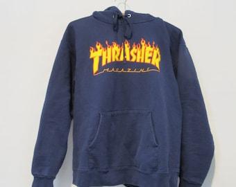 981697840 THRASHER Sweatshirt Hoodie - Small - Skateboard Skater Hoodie Blue