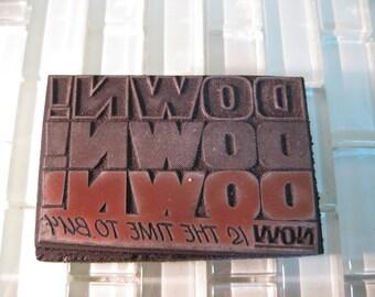 Metal Stamp Sale Advertisment Printing Block Metal Letterpress DOWN DOWN DOWN