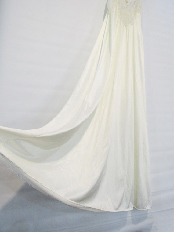 White Lace Nightgown Medium - Sheer lace front - V