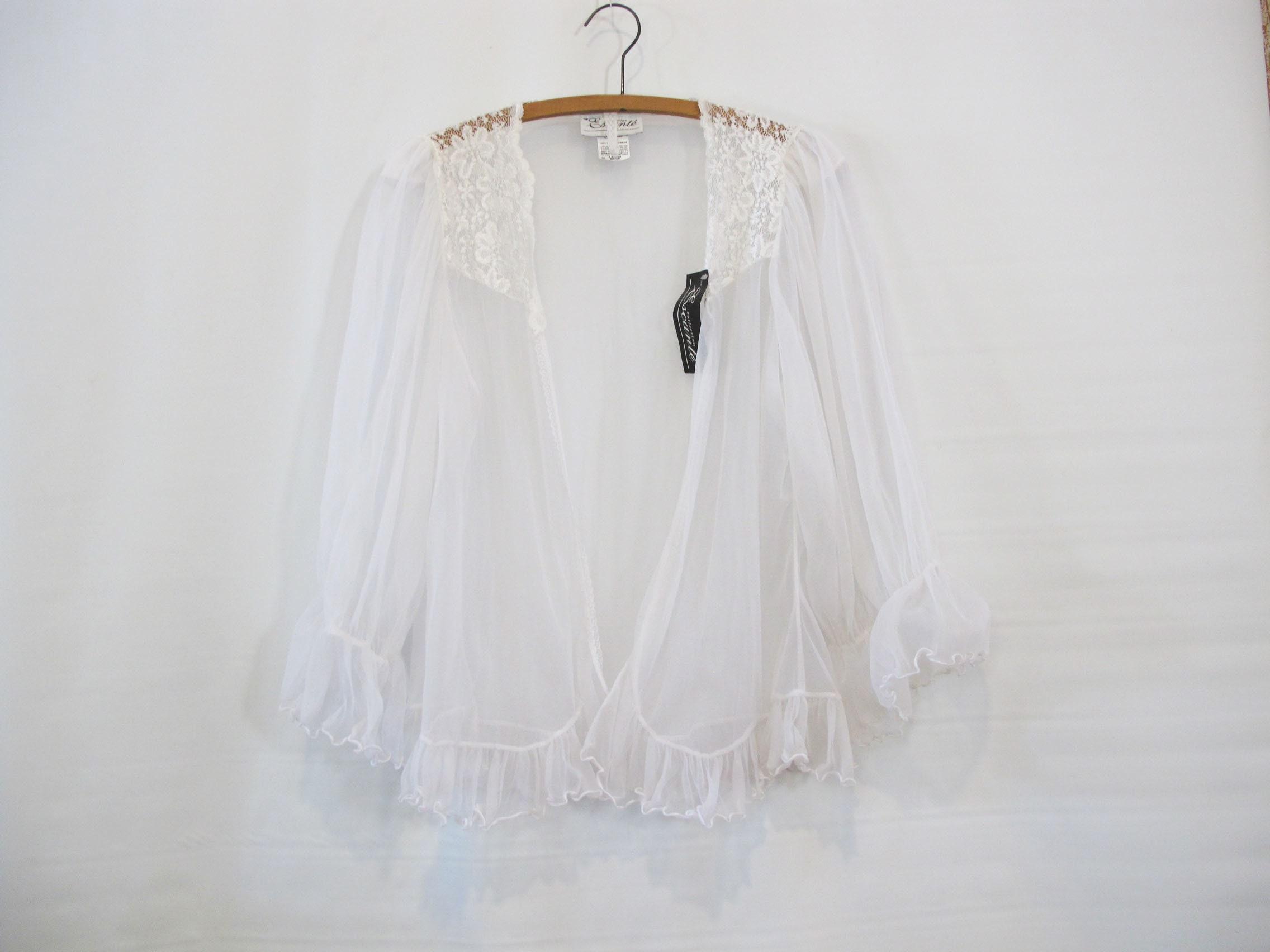 f8f0b77437f White Lace Bed Jacket Medium Large Deadstock w  original