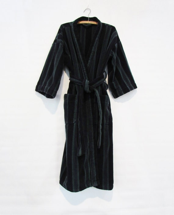Striped Terry Cloth Cotton Robe - One Size - Hands