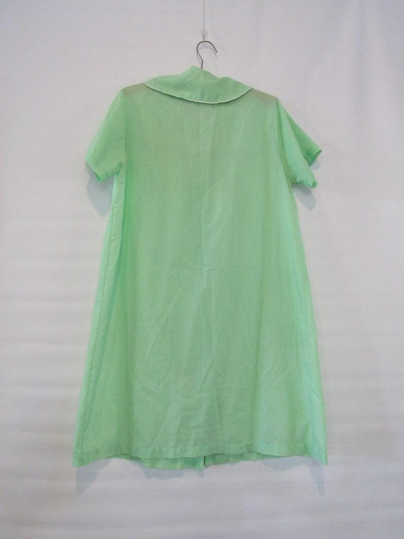 Green Shamrock House Dress Large Katz Coat Loose A-Line Dress w button front