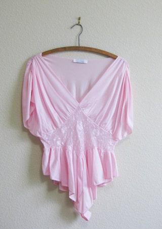 Pink Romper Teddy Medium Nylon - fluttery sleeves and hems