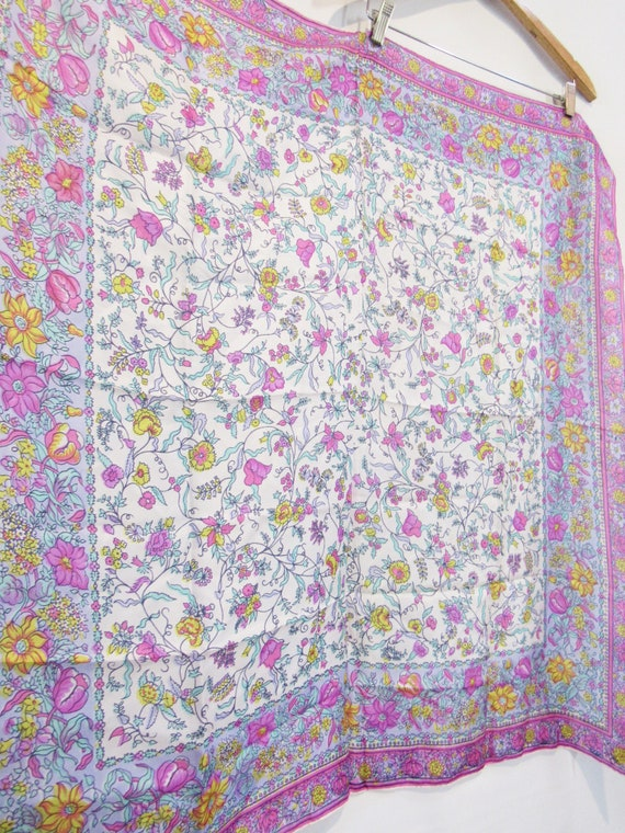 Pink Floral Silk Scarf -Glentex - Very BIG square