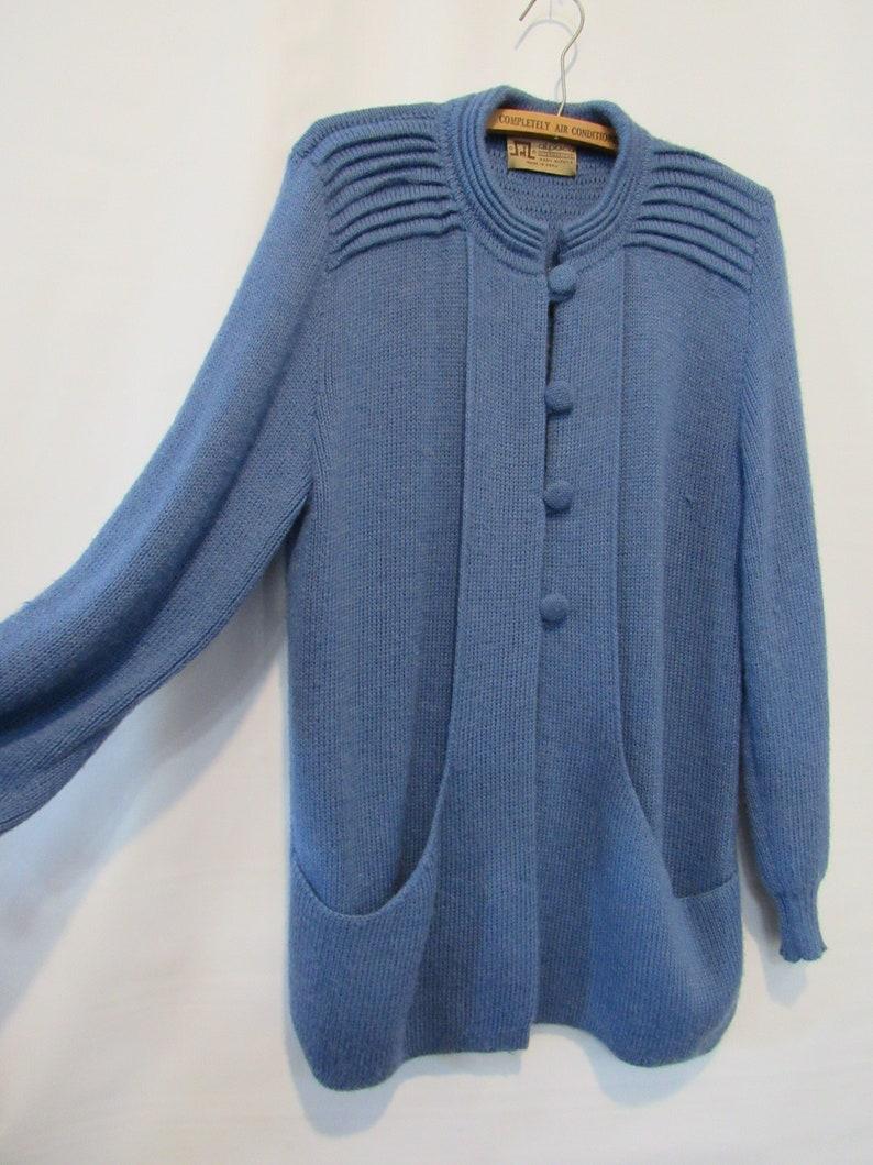 Baby Alpaca Blue Cardigan XL Soft and very warm! Made in Peru Cozy