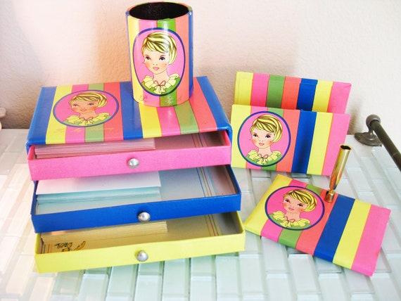 Mod Girls Desk Set With Stationary Set Boxed Pencil Holder Pen Holder Paper File Envelope Holder Japan