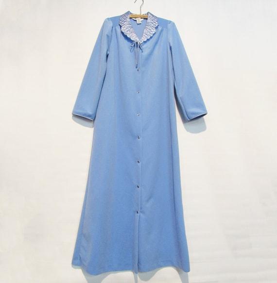 Blue Fleece Housecoat Small - Sears Housecoat Snap