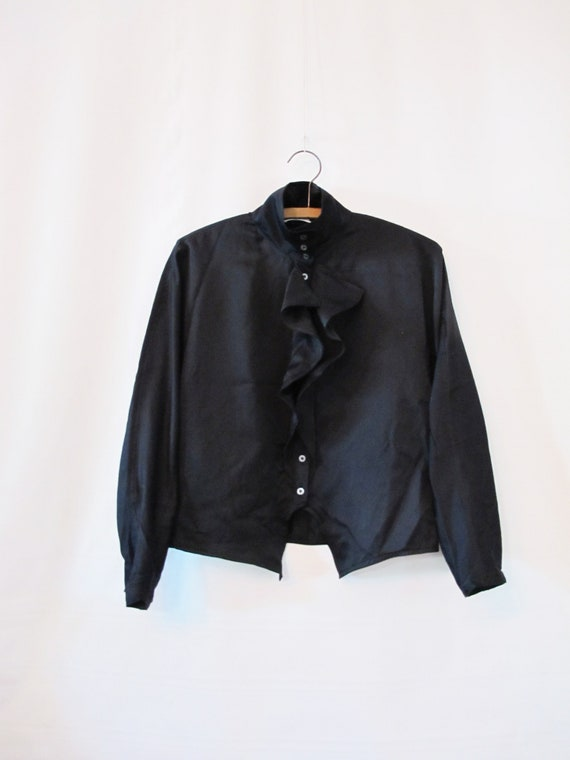 Bogner Black Ruffle Blouse -  Medium Large Satin B