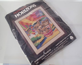 "Teddy Bear Hot Air Balloon Rainbow Crewel Kit - Monarch Horizons - ""International Bearlines"" 1983 16x20"