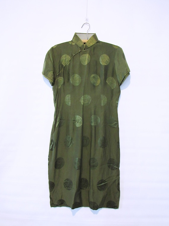 Green Silk Cheongsam Dress Medium - Mid Century Gr