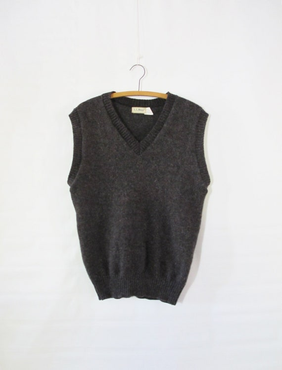 LL Bean Gray Sweater Vest Large - Wool Blend Sweat