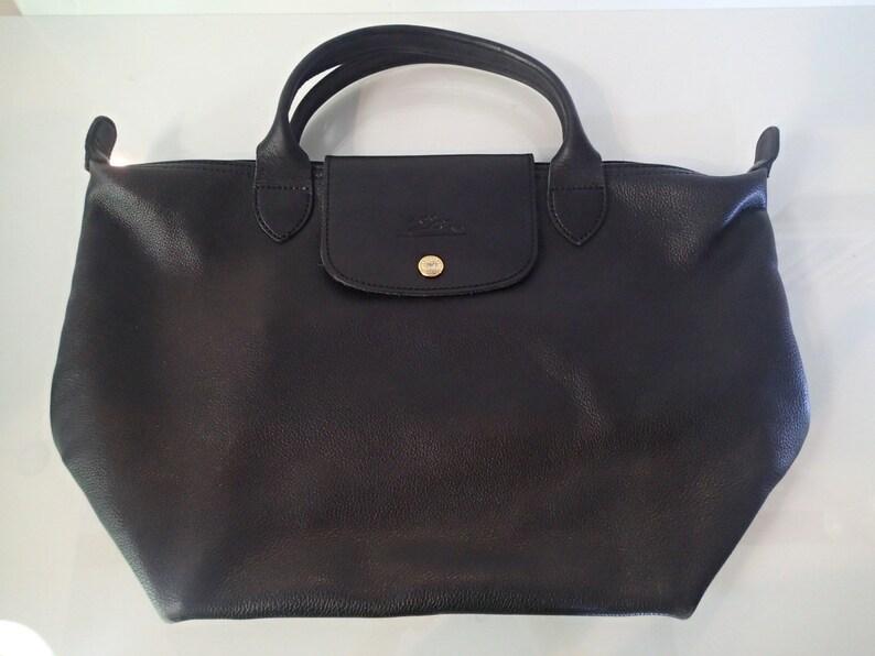 Longchamp Black Leather Handbag Paris Top handle SO Soft  a62ddcd0b2bf2