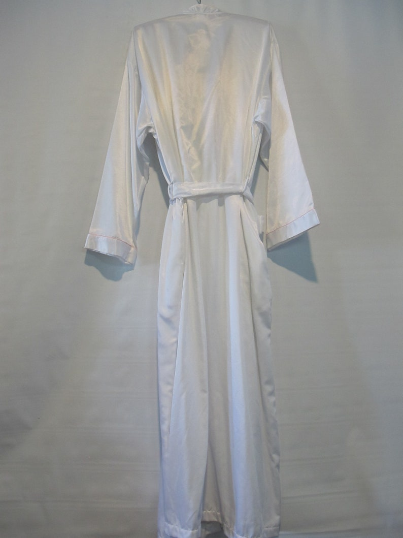 Epic Collar w Embroidery! Barbizon White Satin Robe Fleece Lined XL