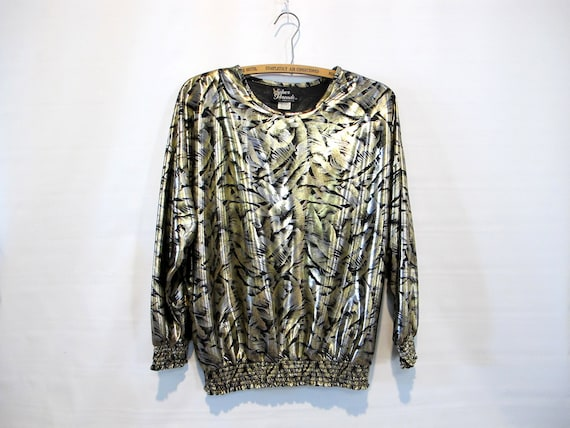Gold Silver Metallic Blouse - Medium- Flowy Hip Hu