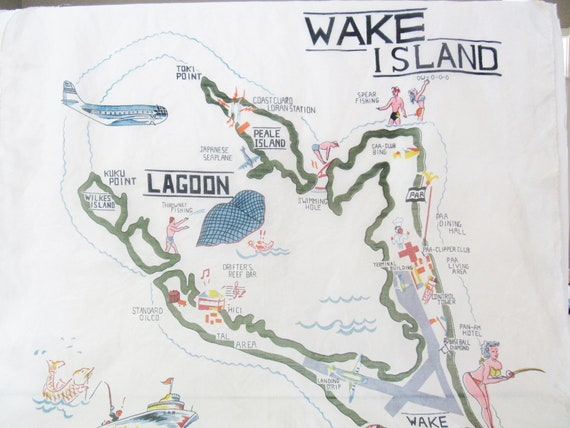 Wake Island Silk Scarf - Mid Century Novelty Scarf