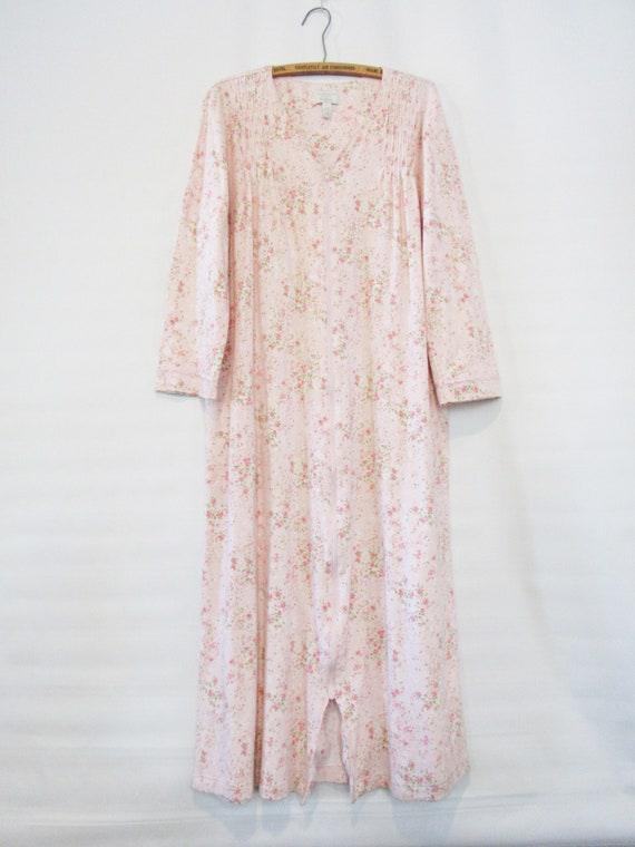 Pink Cotton Housecoat Large - Floral House Dress Z