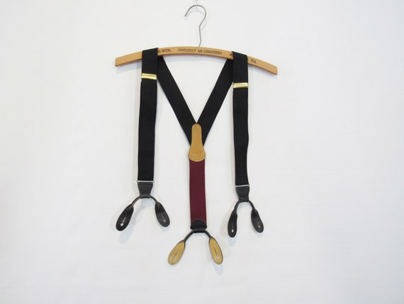 Coach Black Suspenders - Leather Buttonholes - Ele