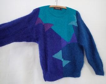 Anny Blatt Blue Angora Sweater Medium - Retro 80s Loose Sweater