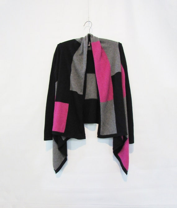 Pink Cashmere Cardigan Small - Black Gray Cashmere