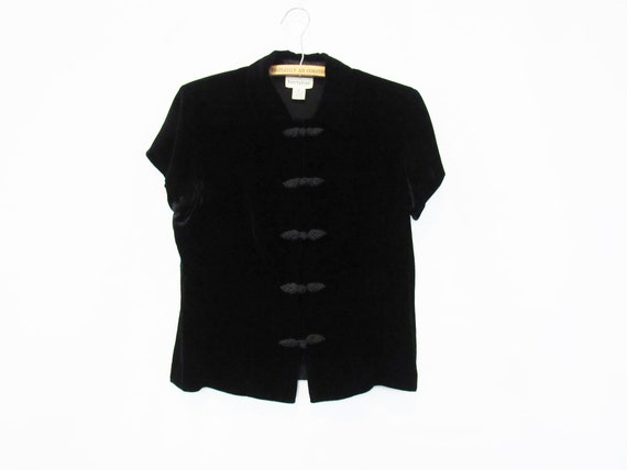 Black Asian Velvet Blouse Small - Rayon and Silk -