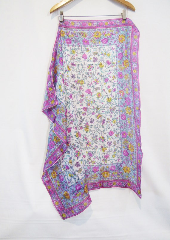 Pink Floral Silk Scarf -Glentex - Very BIG square